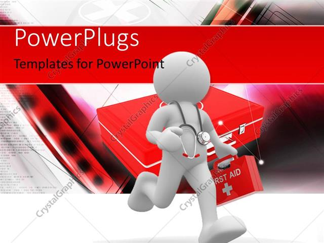 powerpoint template: doctor with stethoscope rushing to patient, Powerpoint templates