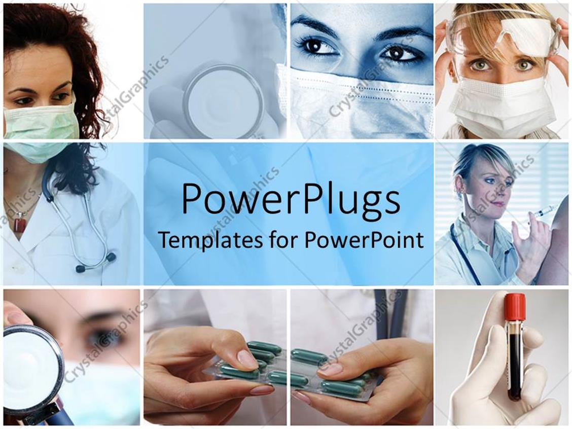 powerpoint template doctors performing their duties blood stethoscope injection 20188. Black Bedroom Furniture Sets. Home Design Ideas
