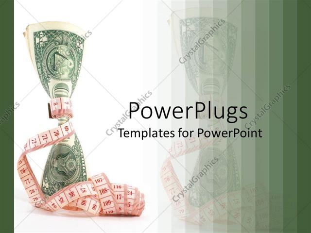 PowerPoint Template Displaying The Dollar Note Is Being Tied From The  Middle By A Measuring Tape