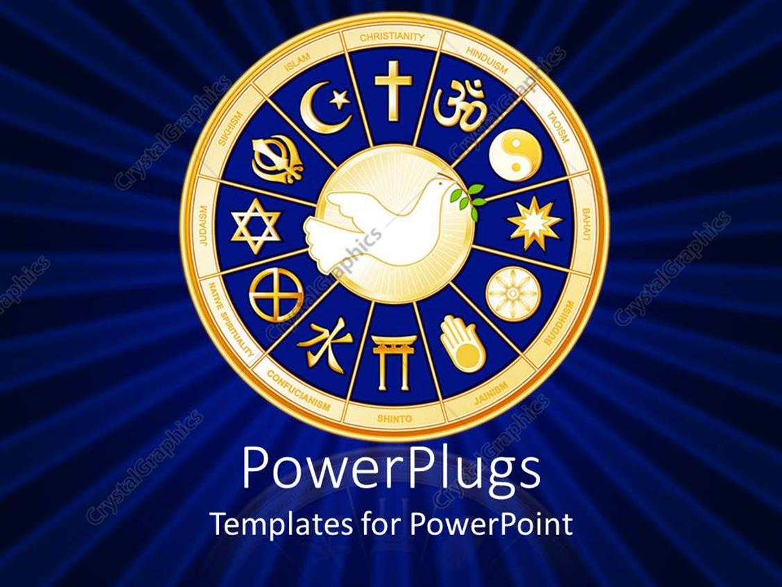 PowerPoint Template Displaying Dove with Olive Branch Surrounded by Religious Symbols