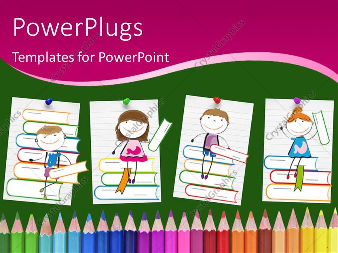 powerpoint template drawings of smiling children sitting on books above colored pencils 2627. Black Bedroom Furniture Sets. Home Design Ideas