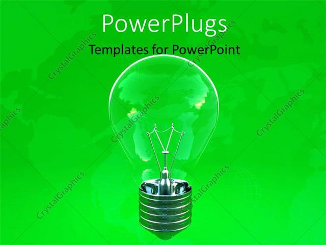 powerpoint template: ecology depiction with transparent light bulb, Powerpoint templates