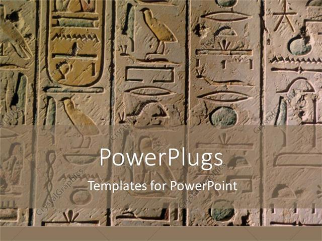 Powerpoint Template Egyptian Hieroglyphics Craved In Stone For