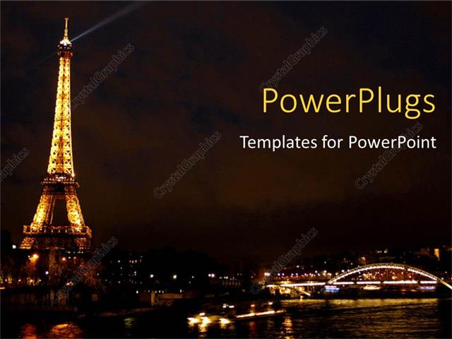 powerpoint template: eiffel tower from paris beautiful gloomy city, Modern powerpoint