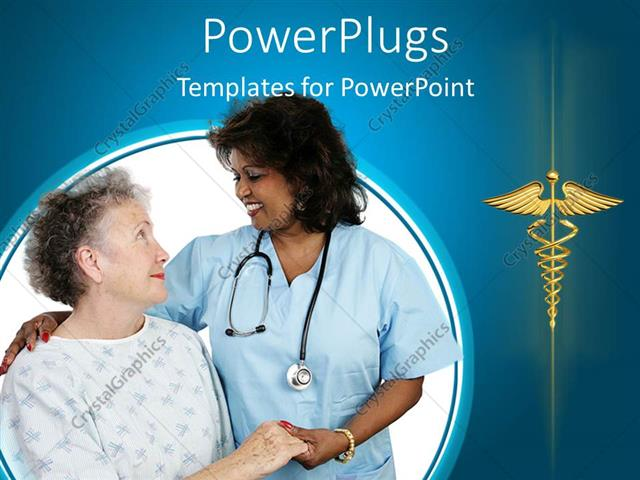powerpoint template: elderly patient holding hands with a nurse, Powerpoint templates