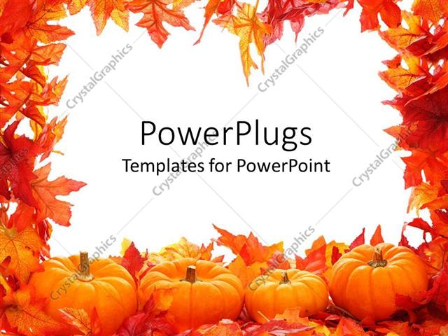 PowerPoint Template: Fall autumn leaf border with white ...