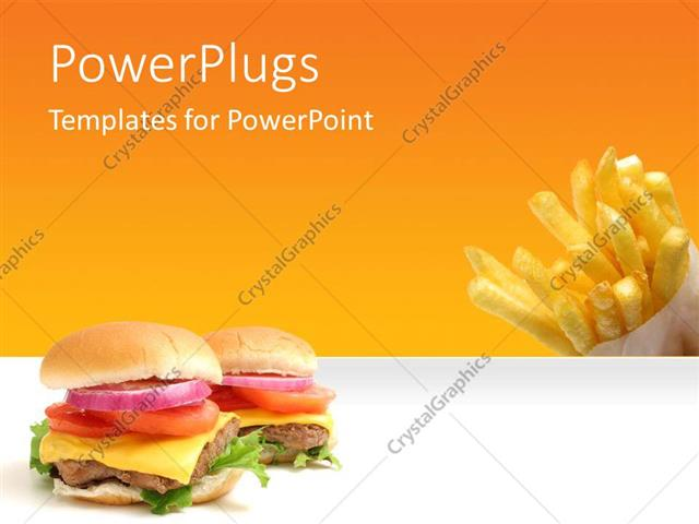 Powerpoint Template: Fast Food Theme With Burger And French Fires