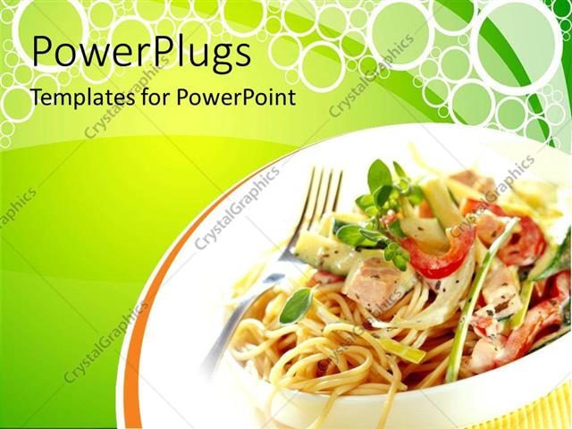 Powerpoint Template: Fast Food Theme With Vegetable Noodles, Green