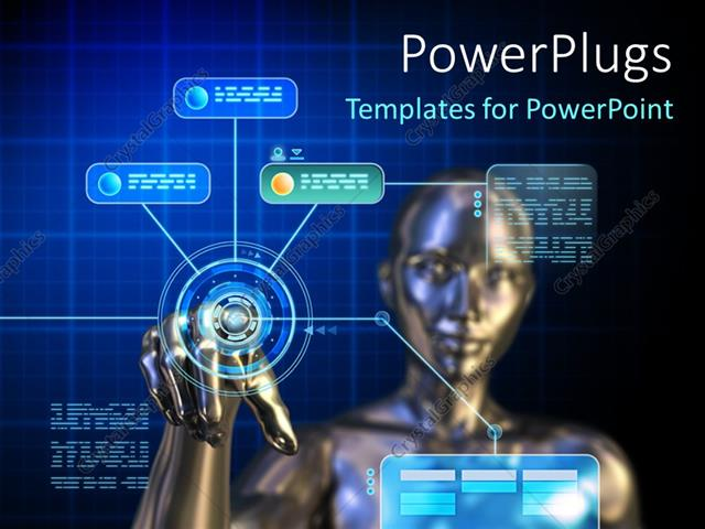 Powerpoint template female android using a futuristic digital powerpoint template displaying female android using a futuristic digital touchscreen interface toneelgroepblik Images