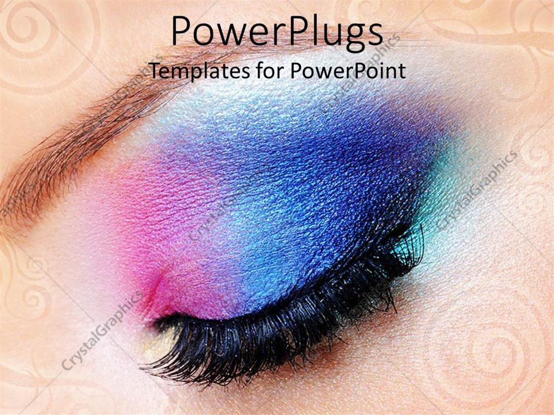 powerpoint template female eye with gradient colored makeup close up of beautiful modern. Black Bedroom Furniture Sets. Home Design Ideas