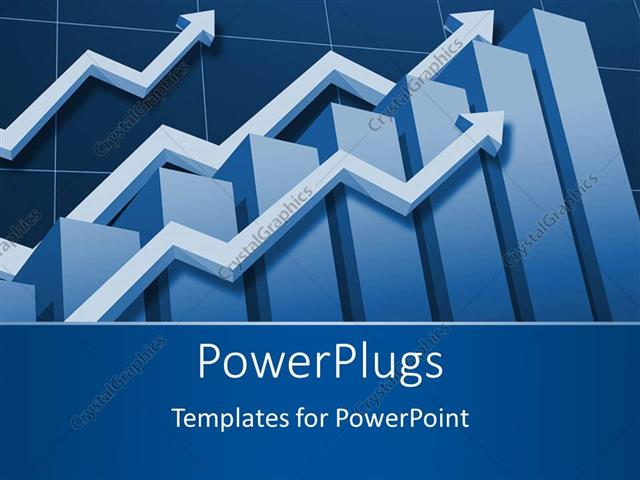 PowerPoint Template Displaying Financial Chart Depiction with Bar Chart and Upward Stock Arrows
