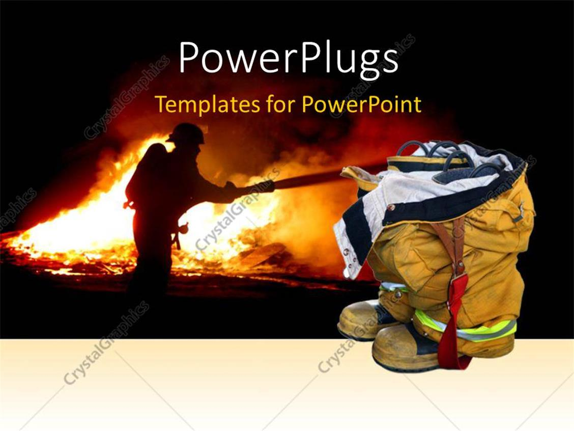 powerpoint template fireman quenching fire with fire equipment in background with close up of. Black Bedroom Furniture Sets. Home Design Ideas