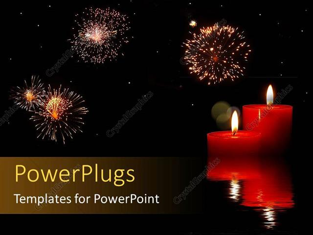powerpoint template: fireworks in dark sky with red candles (6634), Presentation templates