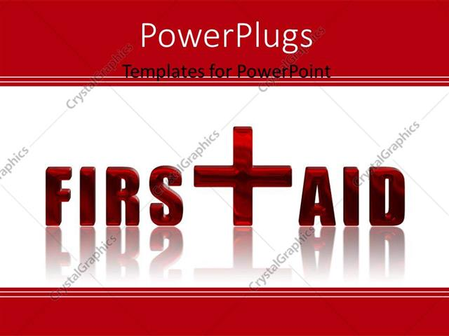 powerpoint template: first aid reflected 3d text over white, Powerpoint templates