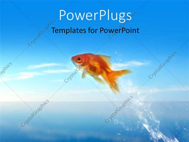powerpoint template: fish jumping out of the water (12372), Modern powerpoint