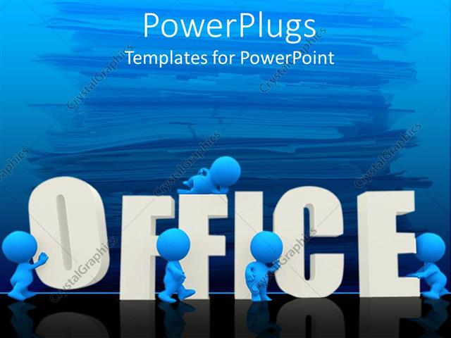 Powerpoint Template: Five Blue Figures Surround Three Dimensional