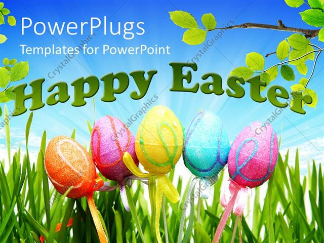 Powerpoint Template: Five Colorful Easter Decorated Eggs With The