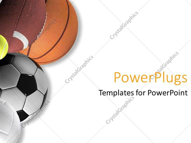 Powerpoint Template: Five Different Types Of Sport Balls On A