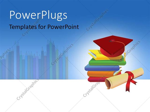 powerpoint template: five multi colored books with a red, Modern powerpoint