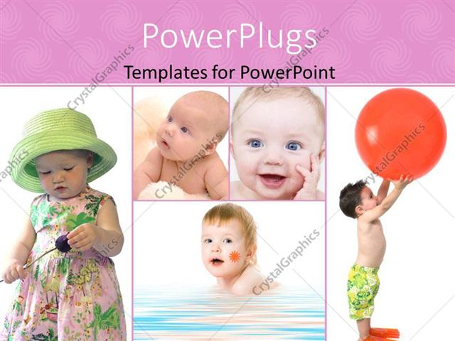 PowerPoint Template Displaying Five Tiles with Lovely Children Playing with Toys and Smiling