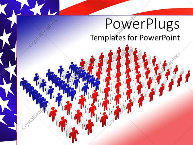 powerpoint template: flag of america depicted with colorful people, Powerpoint templates