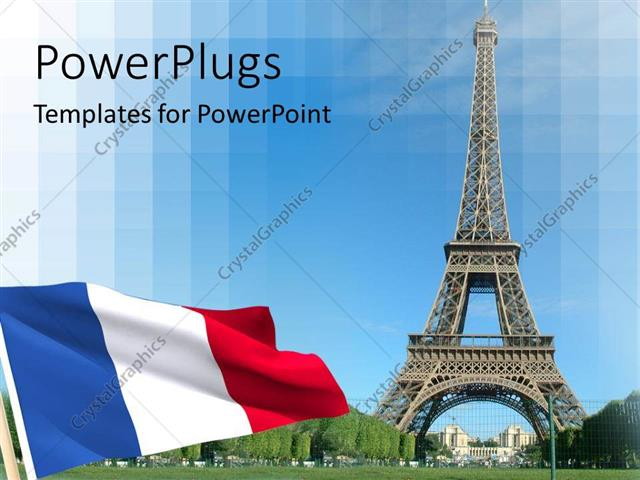 powerpoint template: flag and eiffel tower in paris (12952), Modern powerpoint
