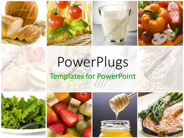 Powerpoint Template Food Collage With Fresh Fruits Vegetables