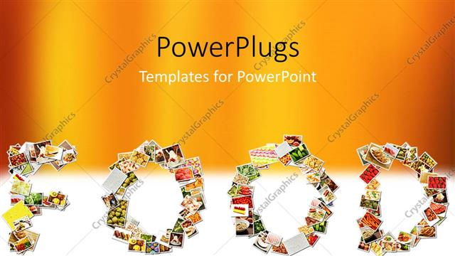 powerpoint template: food menu collage in letters of alphabet with, Modern powerpoint