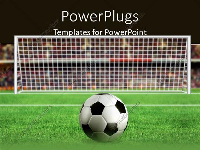 Powerpoint Template: Football Placed In Front Of The Goal For A