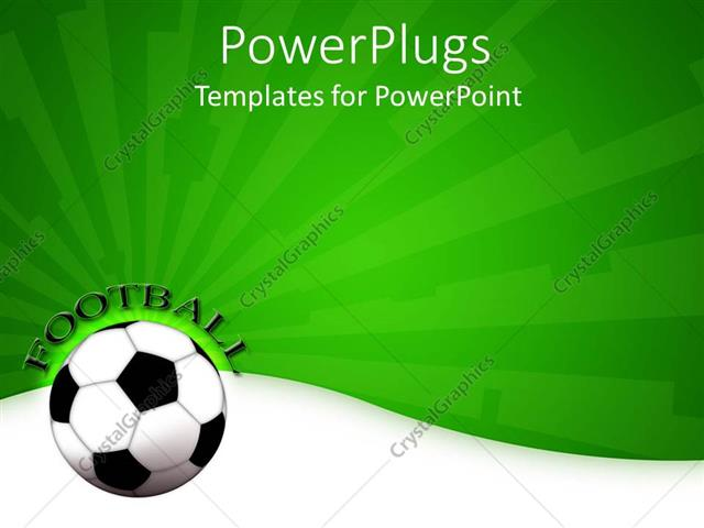 Powerpoint Template A Football Shown With A Greenish Background