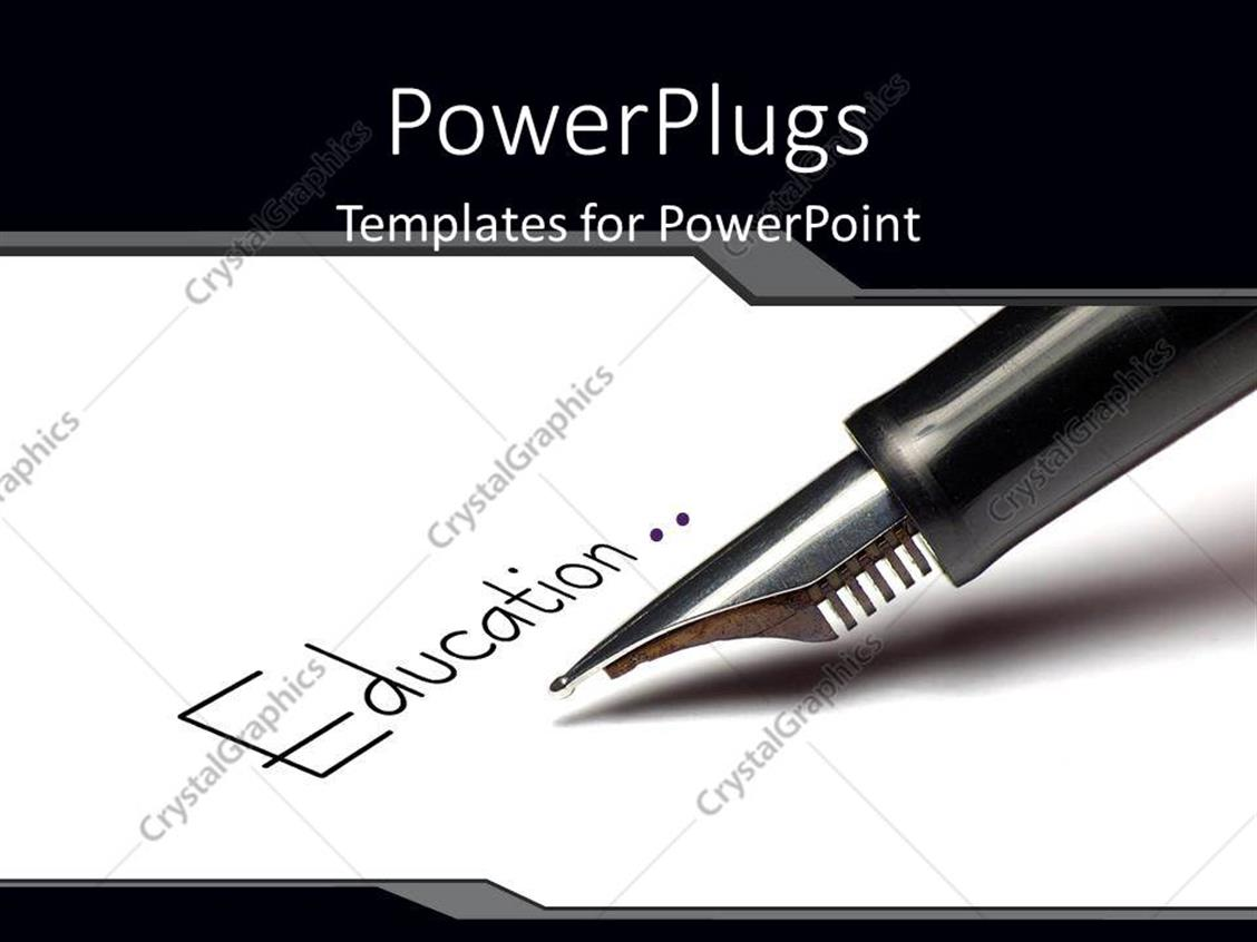 PowerPoint Template Displaying Fountain Pen Writing for Education Paper Pens Pencils Quill Black and White