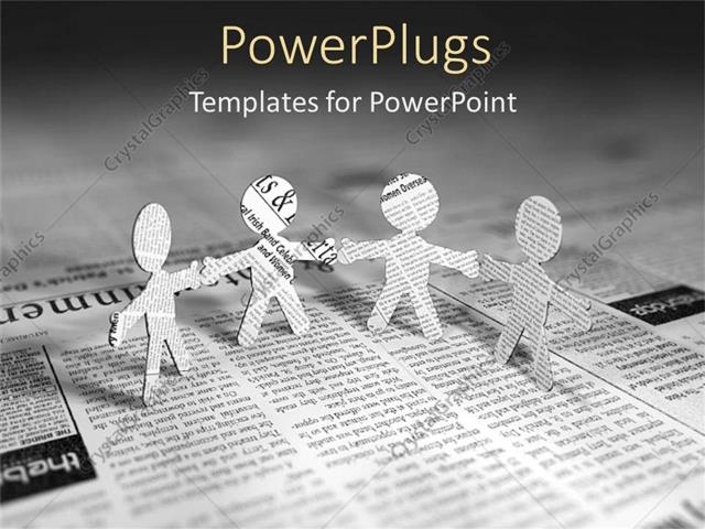 Powerpoint Template: Four Paper Men Standing On Page Of Newspaper