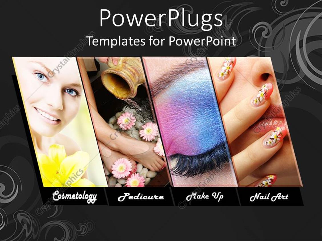 powerpoint template  four tiles with different make up