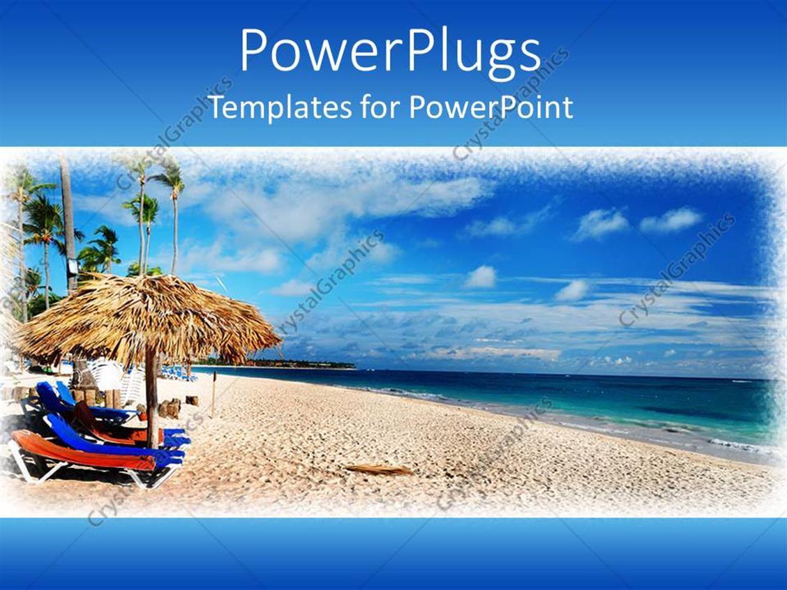 PowerPoint Template: framed depiction of Caribbean beach ...