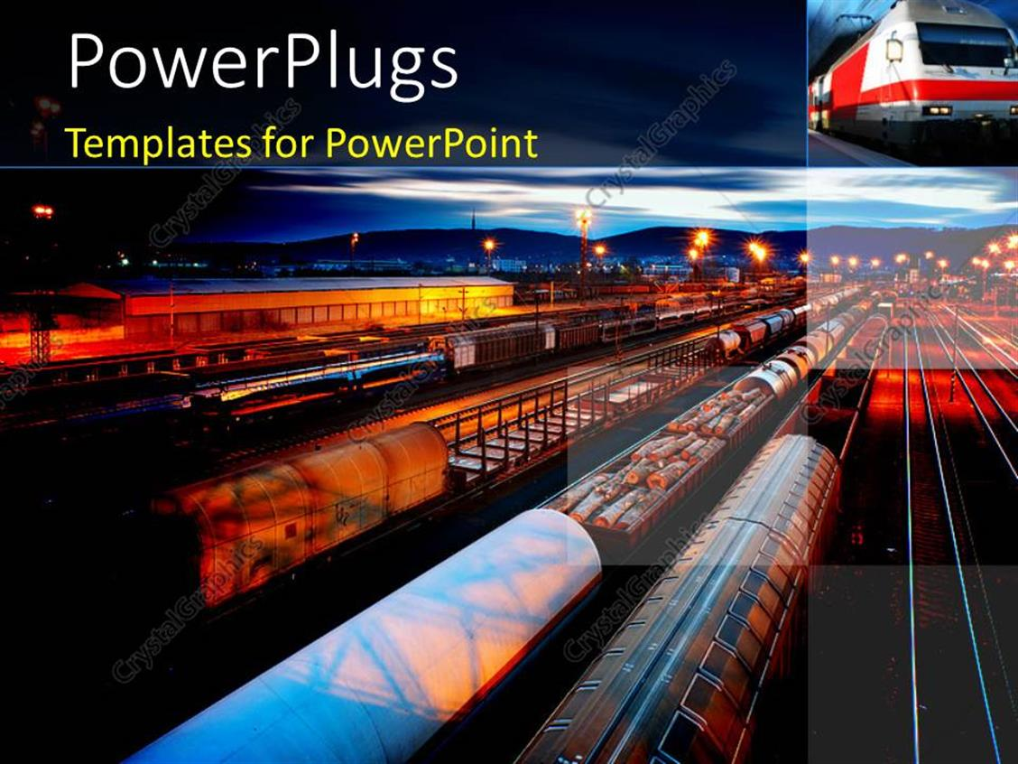 powerpoint template freight station with the trains with
