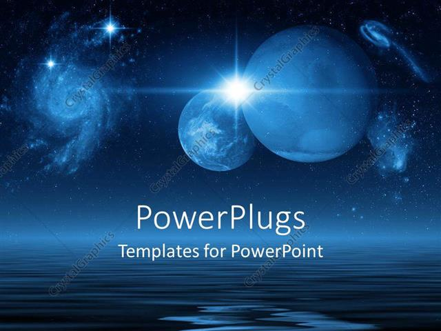 Powerpoint template future planets in galaxies and space above powerpoint template displaying future planets in galaxies and space above the blue ocean on a dark night toneelgroepblik Choice Image