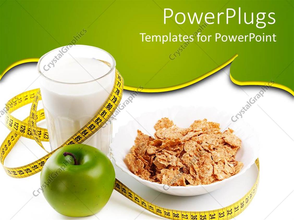PowerPoint Template: A Glass Of Milk Along With Cornflakes
