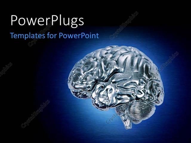 Brain powerpoint templates faceboul powerpoint template glowing chrome brain on dark blue background toneelgroepblik Gallery