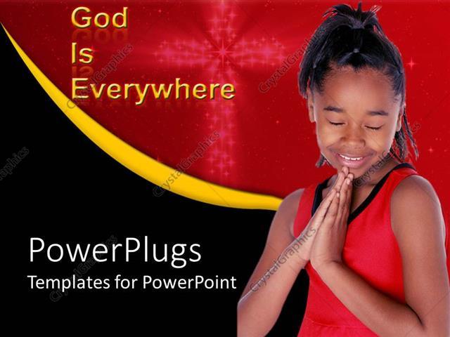 Powerpoint template god is everywhere thee with african american powerpoint template displaying god is everywhere thee with african american girl saying prayer with cross toneelgroepblik Gallery