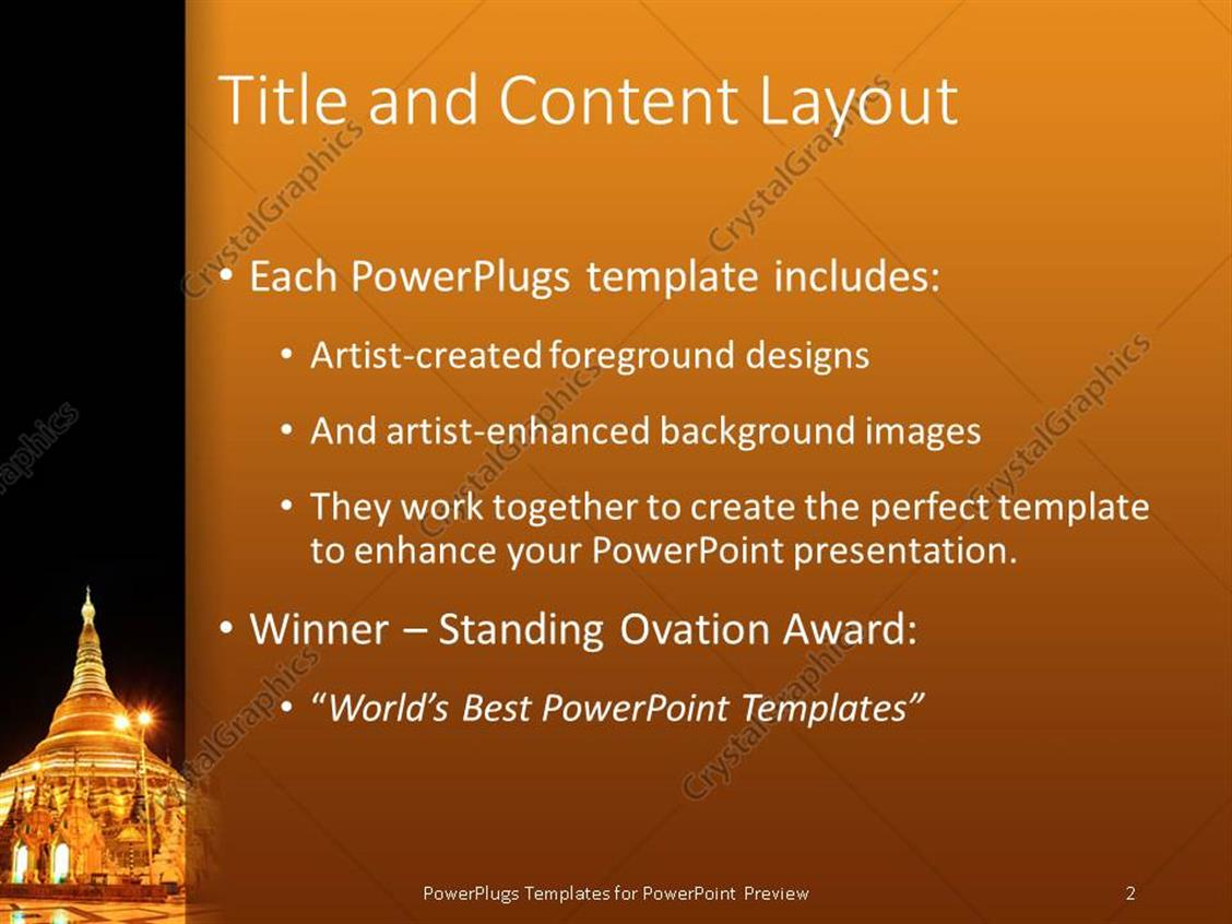 powerpoint template: gold colored well lit pagoda with a black, Modern powerpoint