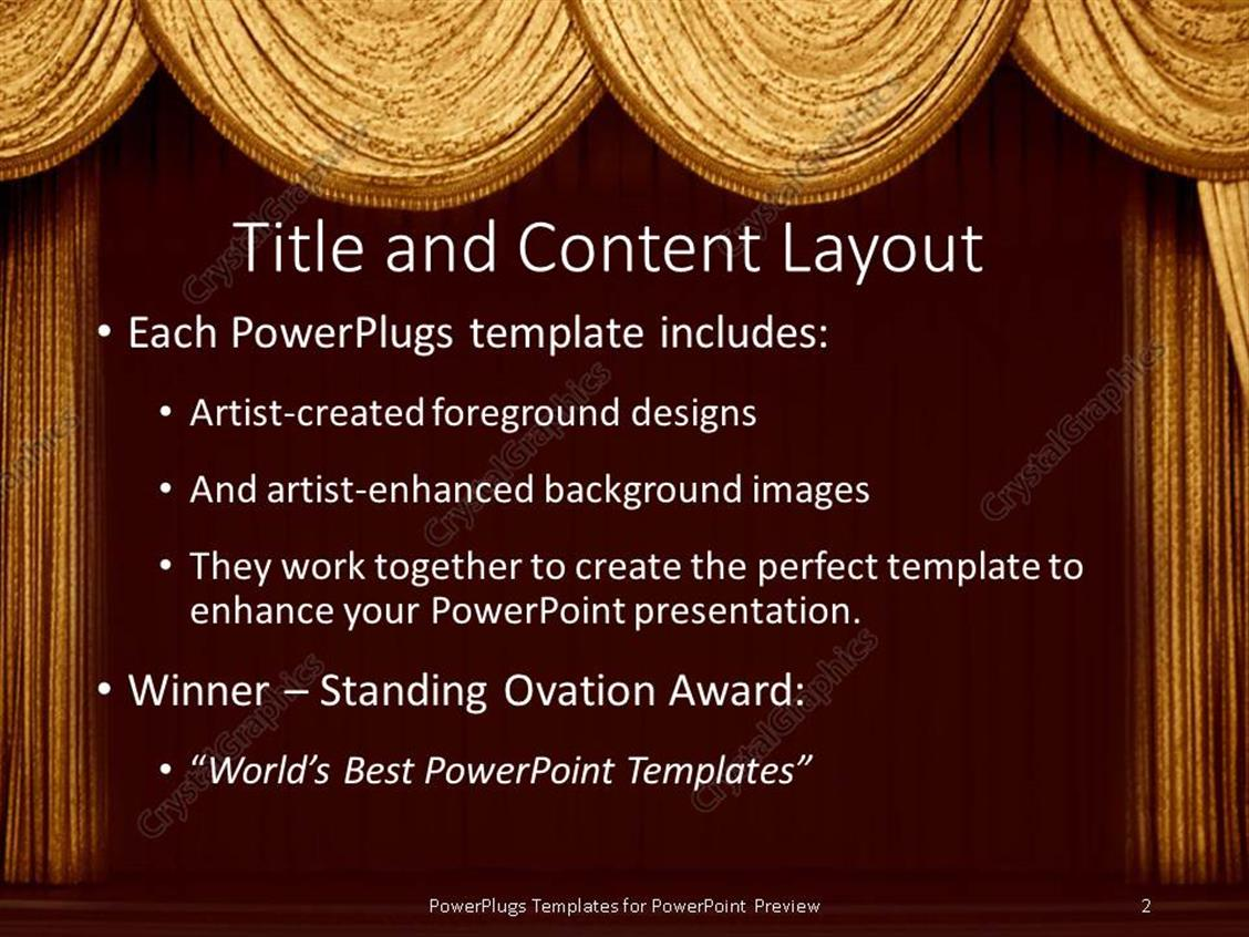 Powerpoint template gold curtains on a stage in a theater for a powerpoint products templates secure standing ovation award toneelgroepblik Image collections