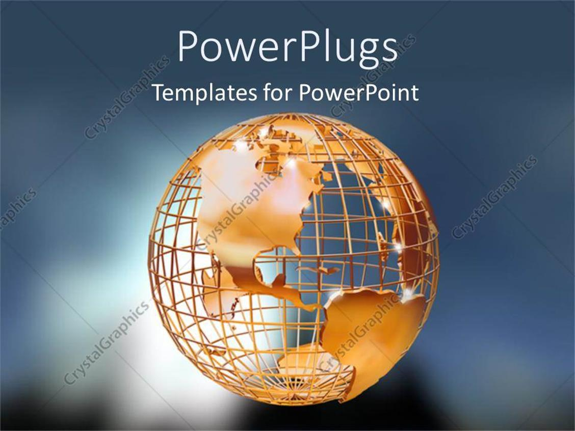 PowerPoint Template Displaying Gold Globe of Earth on Grey Background