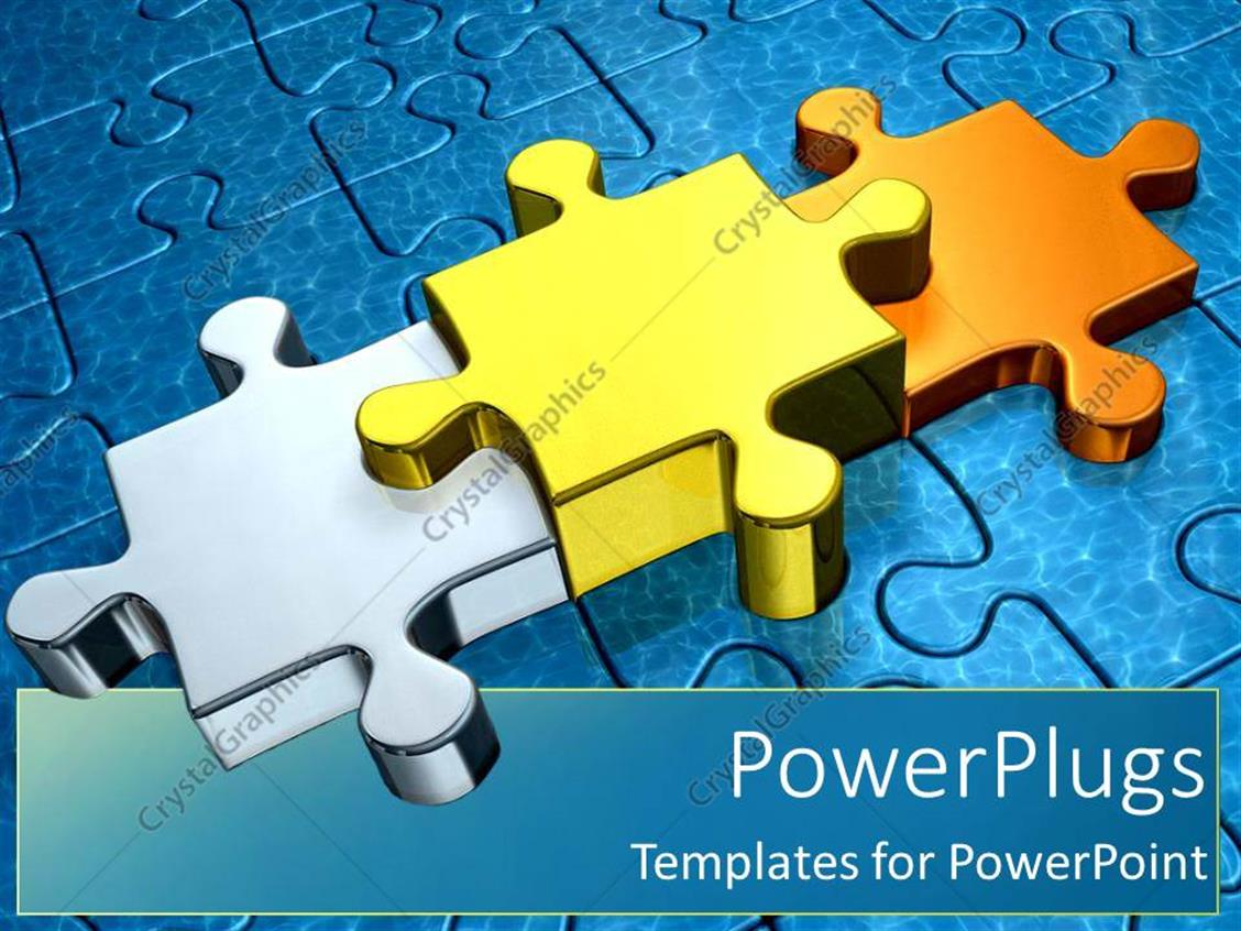 PowerPoint Template Displaying Gold Puzzle Pieces as a Metaphor First Second and Third Place Stand Out Through Success on a Blue Background