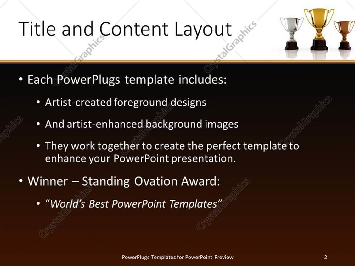Powerpoint template gold silver and bronze winning trophies powerpoint products templates secure standing ovation award toneelgroepblik Image collections