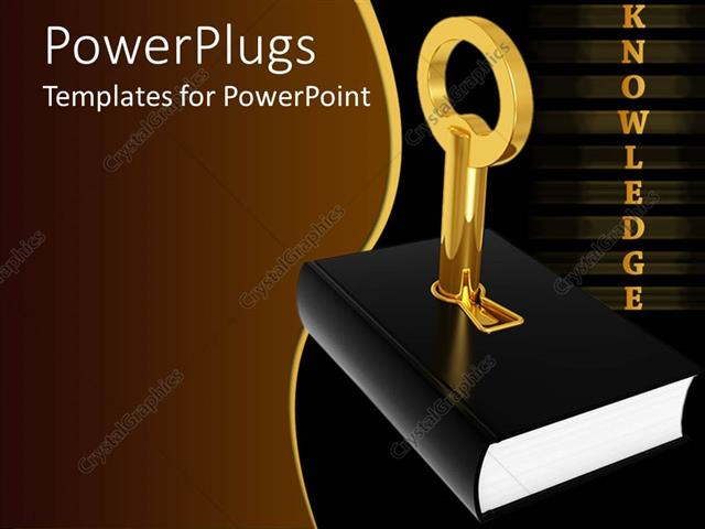 Book Cover Template Powerpoint ~ Powerpoint template golden knowledge word and black cover
