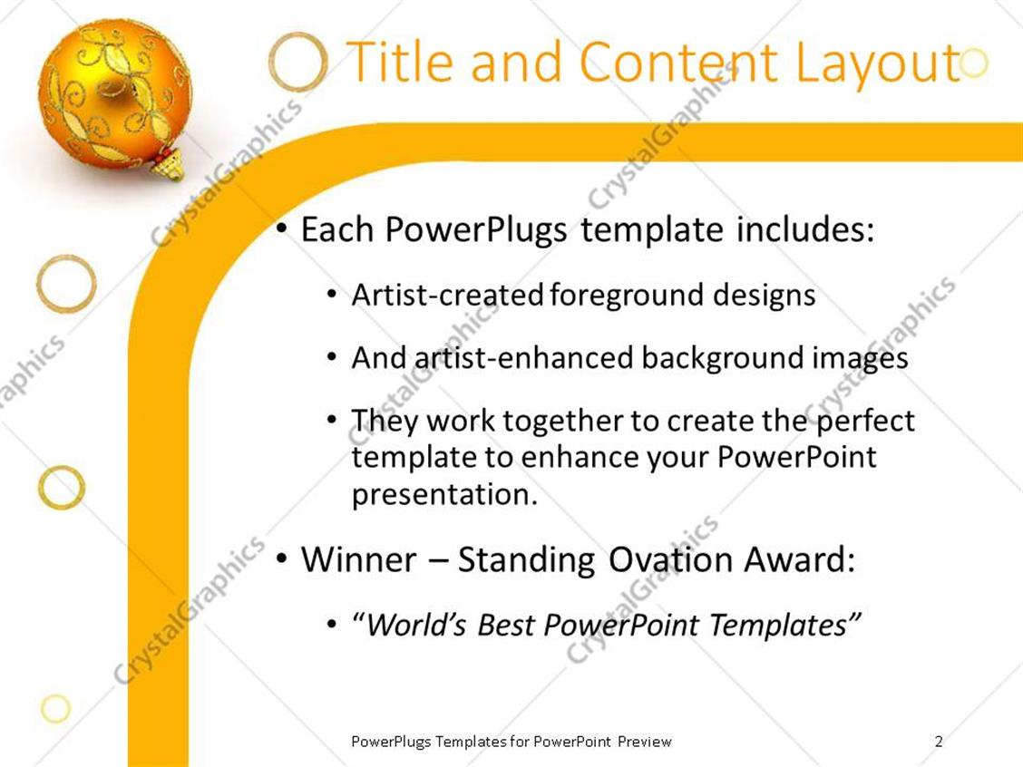 powerpoint template golden shinny christmas tree ornament on a