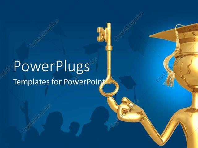 PowerPoint Template Displaying a Graduate with a Golden Key and Bluish Background