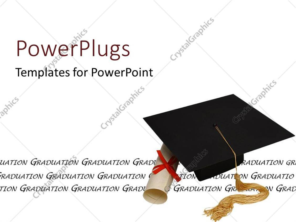 PowerPoint Template Displaying a Graduating Cap with a Degree and White Background