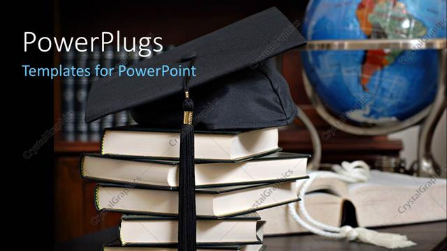 PowerPoint Template Displaying a Graduation Cap with a Number of Law Books