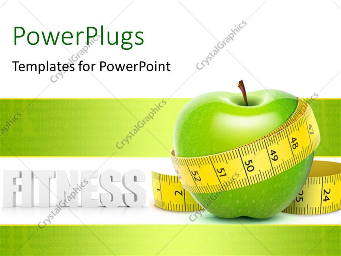 Powerpoint template a green apple with a measurement tape and powerpoint template displaying a green apple with a measurement tape and place for text toneelgroepblik Choice Image